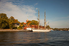 Waterways, boats and beautiful old buildings in Stockholm, Sweden Royalty Free Stock Image