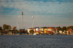 Waterways, boats and beautiful old buildings in Stockholm, Sweden Stock Photography
