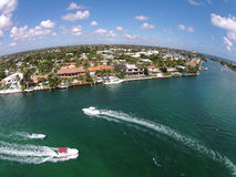 Waterways in Boca Raton, Florida aerial view. Weekend boating on the waterways of Boca Raton, Florida, birds eye view Stock Photo