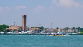 Waterways of Grand Canal, view of the world-famous Venetian canal with tourist motorboat