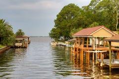 Waterweg, dokken, en rivier royalty-vrije stock afbeeldingen