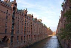Waterweg van Hamburgs speicherstadt-Duitsland Royalty-vrije Stock Afbeelding
