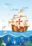 Waterwereld met een varend schip van Spanje, XV eeuw stock illustratie