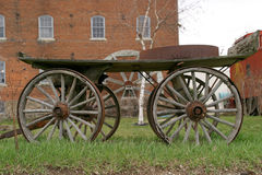Waterwheel 2 with front carriage. Five wheels perspective with front carriage - Bonaparte historic quarters, SE Iowa royalty free stock images