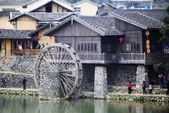 Waterwheel of ancient yunshuiyao town Stock Image