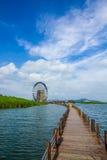Waterwheel and bridge. A big waterwheel and a wood bridge in Taihu Stock Photography