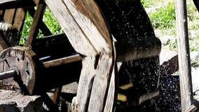 Waterwheel closeup stock footage