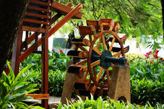 Waterwheel in Gardens of Malecon 2000. A waterwheel in the botanical gardens of the botanical gardens of Guayaquil, Ecuador Stock Image