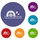 Waterwheel icons set. In flat circle red, blue and green color for web Stock Image