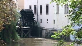Waterwheel mill in Prague. Czech Republic. stock video footage