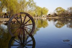 Waterwheel and reflection Royalty Free Stock Photos