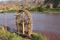 Waterwheel on the Yellowriver Royalty Free Stock Images