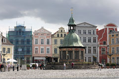 The waterworks at market place of Wismar Stock Photo