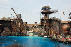Waterworld. Stuns are jumping down. Universal Studios Hollywood Waterworld is a Live Stunt Show based on the 1995 film Waterworld Stock Images