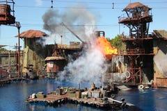 Waterworld på universella studior Hollywood arkivbilder