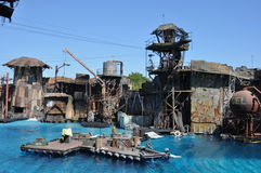 Waterworld show at Universal Studios Holliwood. August 2013, Holliwood (California) - View of the stage of the spectacular show Waterworld (based on 1995 movie Royalty Free Stock Images