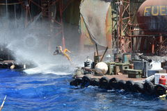 Waterworld. Stuntman is in action in a live stunt show Stock Photos