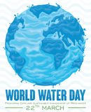 Watery Earth Planet Design for Water Day Celebration, Vector Illustration Stock Photography