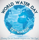 Watery Earth Planet to Commemorate World Water Day, Vector Illustration Stock Photos