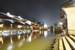 watery forntida kinesisk town Arkivbilder
