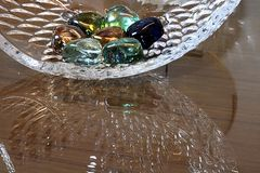Watery stones , with a bowl reflection. stock images