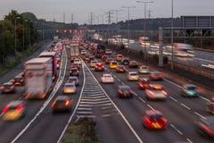 M1 motorway at dusk. Watford, UK - September 24, 2017: Evening traffic jam on British motorway M1.M25/M1 junction royalty free stock image
