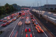 M1 motorway at dusk. Watford, UK - September 24, 2017: Evening traffic jam on British motorway M1.M25/M1 junction stock photography