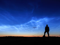 Wathcing noctilucent clouds Stock Images