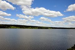 Wather under clouds. This is a big lake under clouds. It is a summer time royalty free stock image