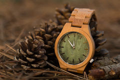Wathes in the woods. Wooden wathes and glasses with green face and lens royalty free stock photography