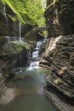 Watkins do vale, cachoeira, New York, curso, paisagem foto de stock royalty free