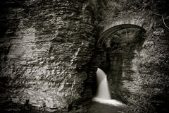 Watkins Glen Entrance. Located in Watkins Glen NY, this stunning trail takes you through Watkins Glen State Park. There are several styles of waterfalls which stock images