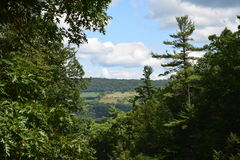 The walking trail will take you to a scenic view of Watkins Glen, NY State Park Stock Images