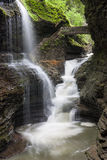 Watkins Glen Rainbow Falls. Iconic view of Rainbow Falls in Watkins Glen State Park, New York Stock Photo