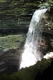 Watkins Glen State Park Cavern Waterfall. View of the Cavern waterfall from the gorge walking trail royalty free stock photos