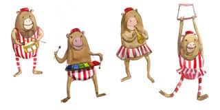 Watrcolor在白色背景隔绝的逗人喜爱的马戏猴子的儿童的例证 向量例证