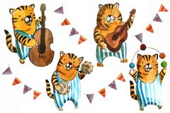 Watrcolor children`s illustration of cute circus tiger isolated on white background stock illustration