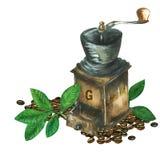 Watrecolor coffee grinder Stock Photos