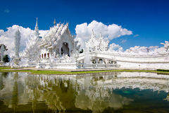 Watrongkhun beautiful white temple Royalty Free Stock Photo
