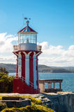 Watson Bay Lighthouse. Coast scenery with red white striped lighthouse stock photos