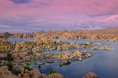 Watson jeziora zmierzch Fotografia Royalty Free
