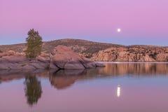 Watson Jeziorny Pełny Moonrise Obrazy Stock