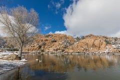 Watson Jeziorny prescott Arizona w zimie Obrazy Stock