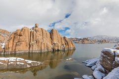 Watson jezioro w zimie Zdjęcia Royalty Free