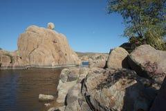 Watson Lake. Granite rocks on Watson Lake with full moon rising Royalty Free Stock Photos
