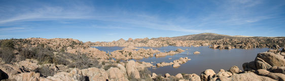 Watson Lake. Panoramic photo taken at Watson Lake, a high desert lake in Arizona. The lake is ringed in by a geologic formation known as the Granite Dells Stock Images