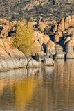 Watson Lake Autumn Reflection Arkivbilder