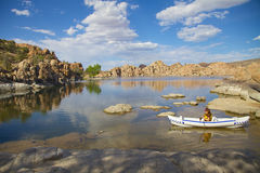 Watson Lake et Kayaker Photo libre de droits