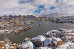 Watson Lake i vinter Royaltyfria Bilder