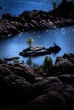 Watson Lake Island com uma árvore Imagem de Stock Royalty Free